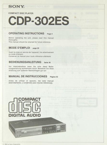 Sony CDP-302 ES Bedienungsanleitung