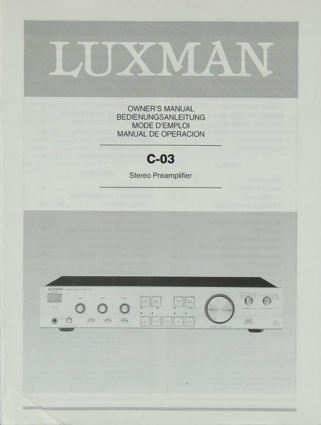 Luxman C-03 Bedienungsanleitung