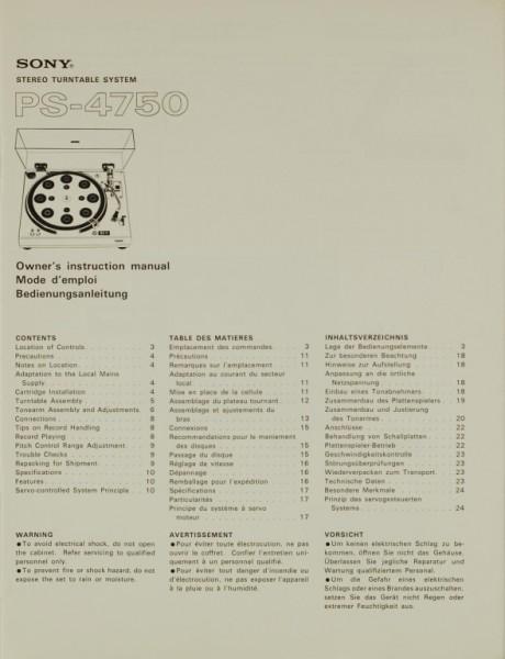 Sony PS-4750 Bedienungsanleitung