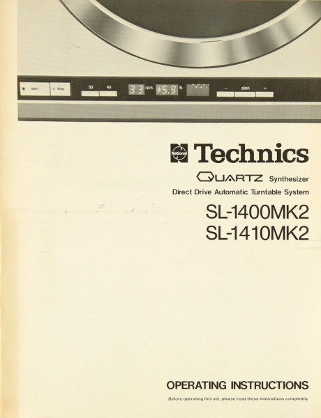 Technics SL-1400 MK 2 / SL-1410 MK 2 Manual | Turntables