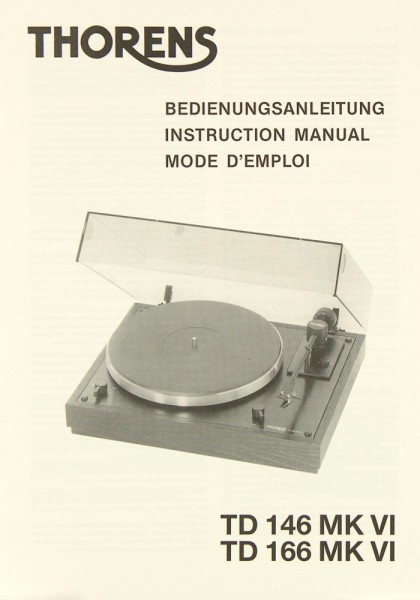 Thorens TD 146 MK VI / TD 166 MK VI Bedienungsanleitung