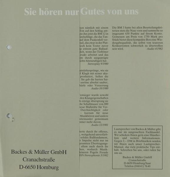 Backes & Müller BM 20 / BM 12 / BM 6 / BM 3 Prospekt / Katalog