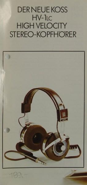 Koss HV-1 LC Prospekt / Katalog