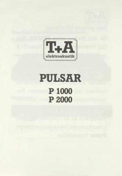 T + A PULSAR P 1000 / P 2000 Bedienungsanleitung