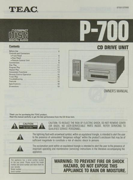 Teac P-700 Bedienungsanleitung