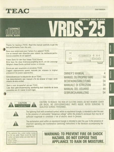 Teac VRDS-25 Bedienungsanleitung