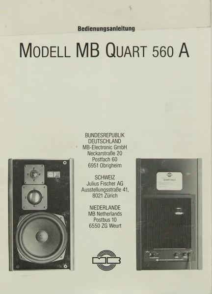 MB-Electronic Modell MB Quart 560 A Bedienungsanleitung