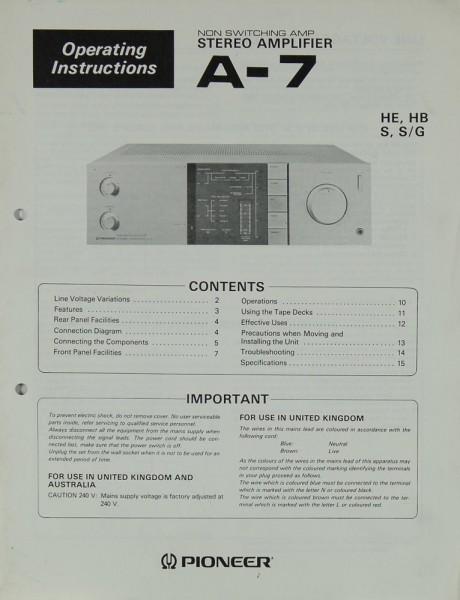 Pioneer A-7 Bedienungsanleitung