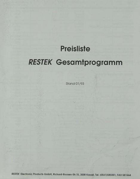 Restek Preisliste Gesamtprogramm 01/93 Prospekt / Katalog