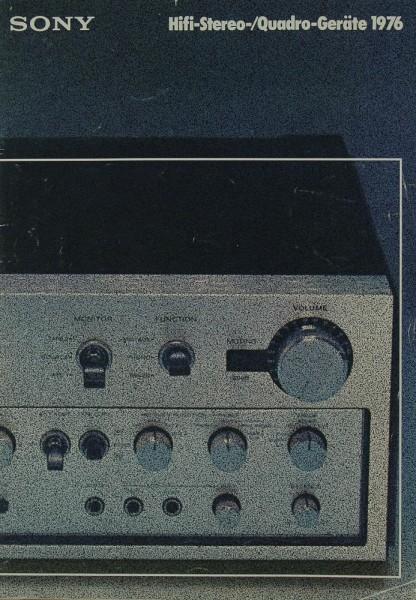 Sony Hifi-Stereo- / Quadro-Geräte 1976 Prospekt / Katalog