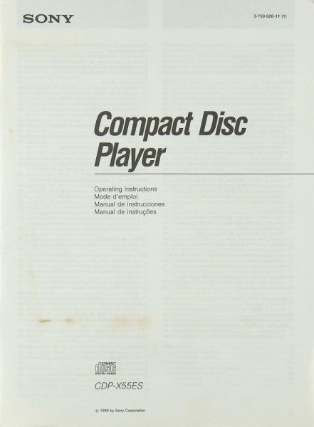 Sony CDP-X 55 ES Bedienungsanleitung
