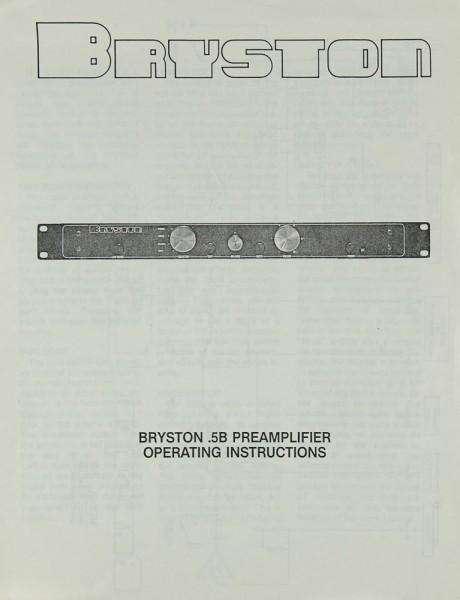Bryston 0.5 B Bedienungsanleitung