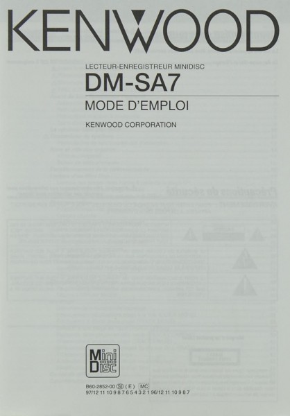 Kenwood DM-SA 7 Bedienungsanleitung