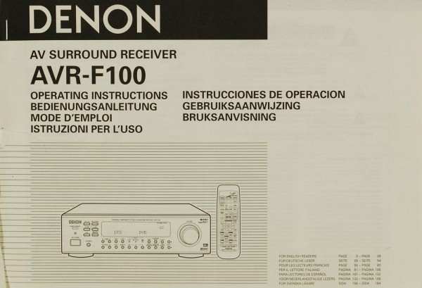 Denon AVR-F 100 Bedienungsanleitung