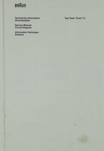 Braun T 2 Schaltplan / Serviceunterlagen