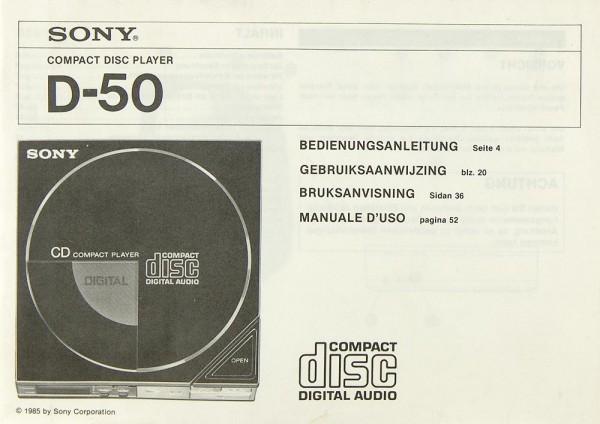 Sony D-50 Bedienungsanleitung