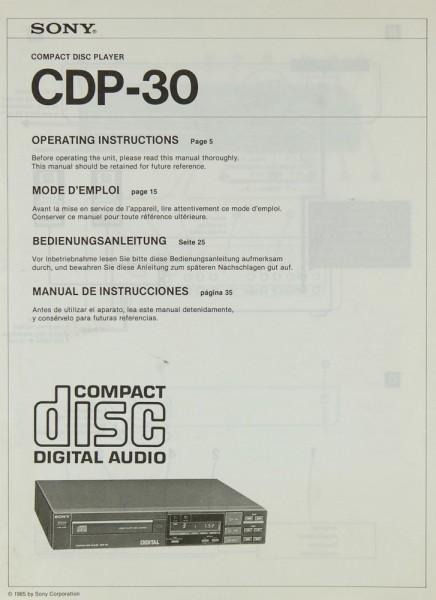 Sony CDP-30 Bedienungsanleitung