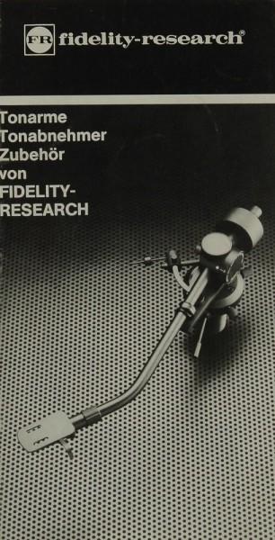 Fidelity Research Tonarme / Tonabnehmer / Zubehör Prospekt / Katalog