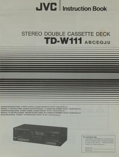 JVC TD-W 111 (A/B/C/E/G/J/U) Bedienungsanleitung