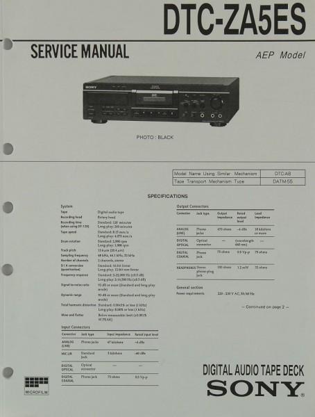 Sony DTC-ZA 5 ES Schaltplan / Serviceunterlagen