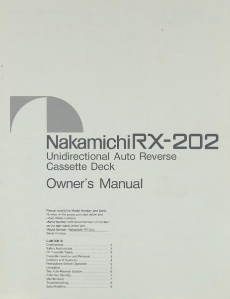 Nakamichi RX-202 Bedienungsanleitung