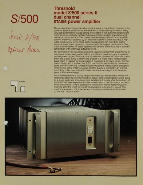 Threshold S/500 Prospekt / Katalog