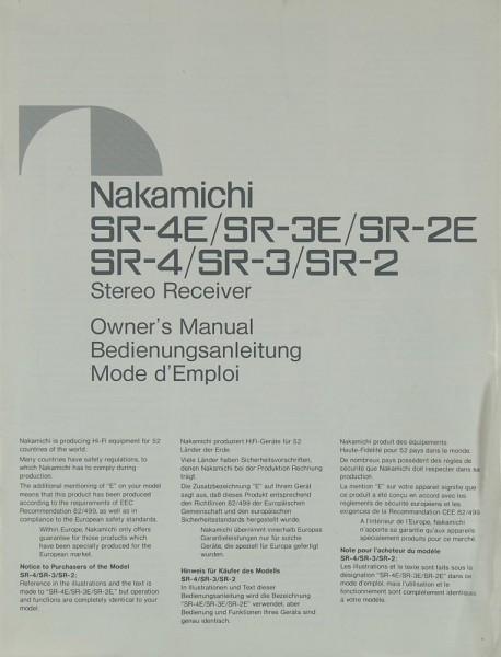 Nakamichi SR-4E/3E/2E / SR-4/3/2 Bedienungsanleitung