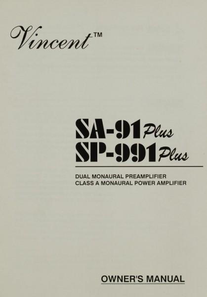 Vincent SA- 91 Plus / SP-991 Plus Bedienungsanleitung