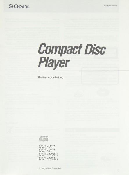 Sony CDP-311 / CDP-211 / CDP-M 301 / CDP-M 201 Bedienungsanleitung