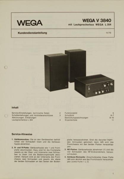 Wega V 3840 / L 354 Schaltplan / Serviceunterlagen