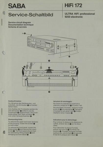 Saba 9250 Electronic Schaltplan / Serviceunterlagen