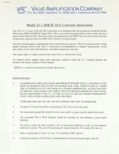 VAC 22.1 HDCD D/A Bedienungsanleitung