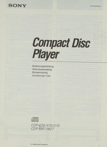 Sony CDP-670 / 470 / 270 / CDP-M 47 / M 27 Bedienungsanleitung