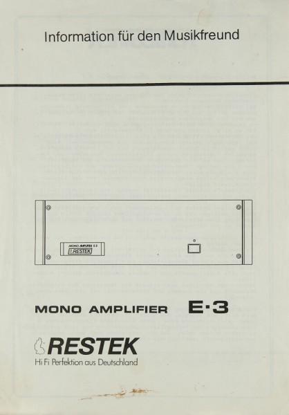 Restek E-3 Prospekt / Katalog