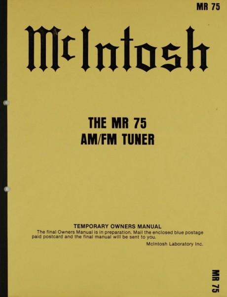 McIntosh The MR 75 Bedienungsanleitung