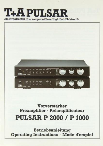 T + A PULSAR P 2000 / P 1000 Bedienungsanleitung