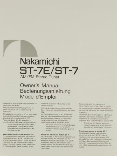 Nakamichi ST-7E / ST-7 Bedienungsanleitung