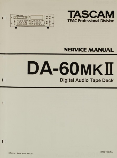 Tascam DA-60 MK II Schaltplan / Serviceunterlagen