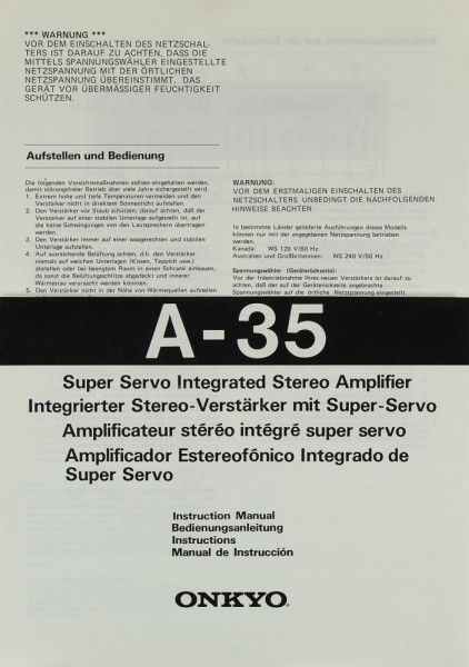 Onkyo A-35 Bedienungsanleitung