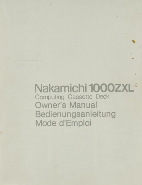 Nakamichi 1000 ZXL Bedienungsanleitung