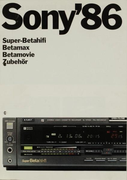 Sony Sony ´86 - Super-Betahifi. Betamax. Betamovie. Prospekt / Katalog