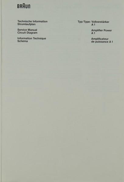 Braun A 1 Schaltplan / Serviceunterlagen