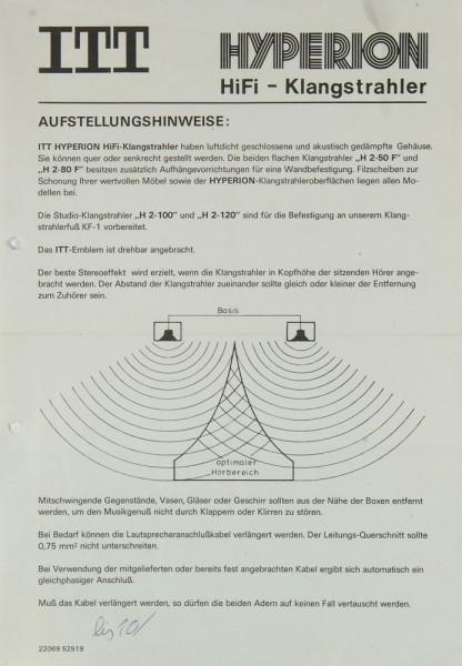 ITT Hyperion Bedienungsanleitung