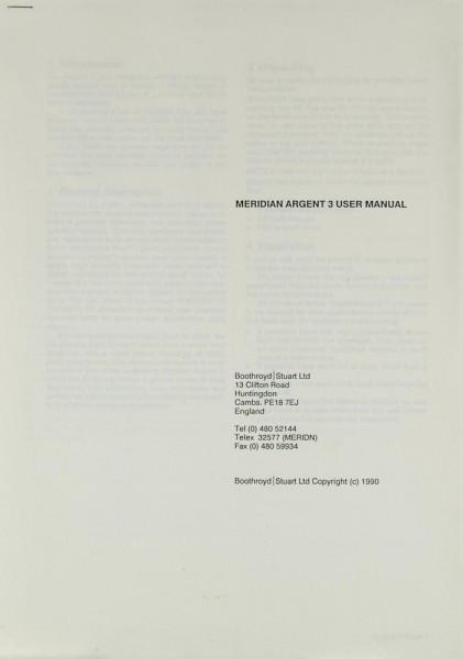Meridian Argent 3 Bedienungsanleitung
