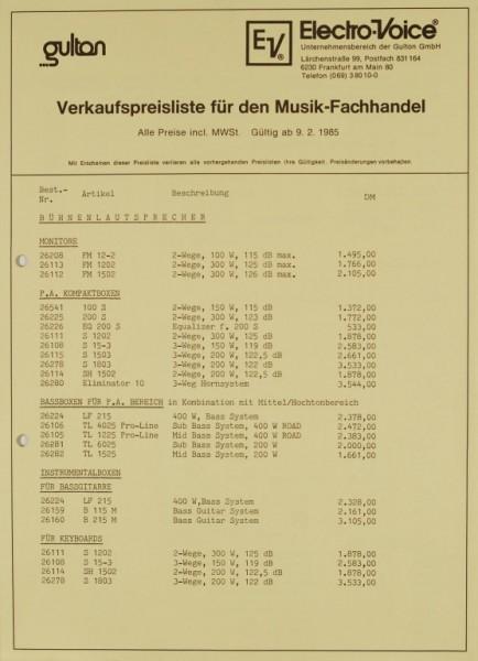 Electro-Voice / Gulton Verkaufspreisliste für den Musik-Fachhandel Prospekt / Katalog