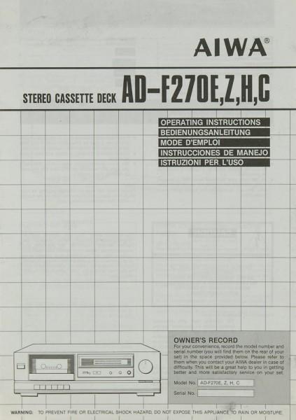 Aiwa AD-F 270 E/Z/H/C Bedienungsanleitung