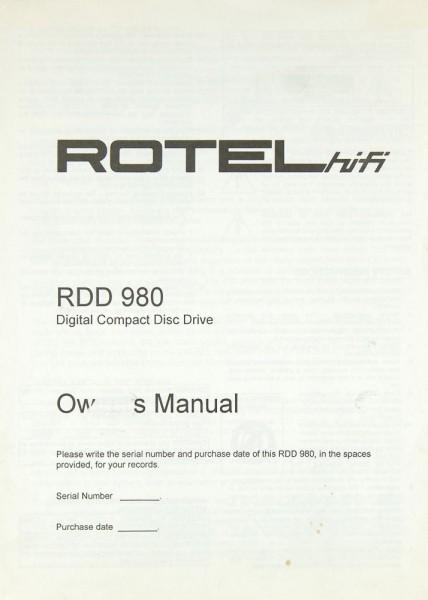 Rotel RDD 980 Bedienungsanleitung