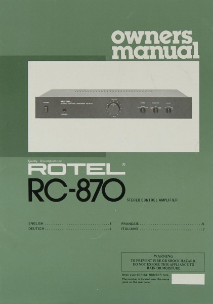 Rotel RC-870 Bedienungsanleitung