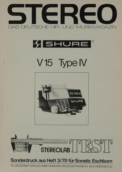 Shure V 15 Type IV - Sonderdruck Stereo 3/78 Testnachdruck
