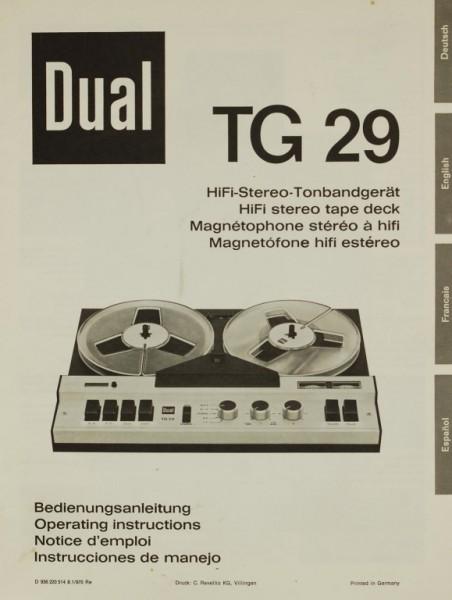 Dual TG 29 Bedienungsanleitung